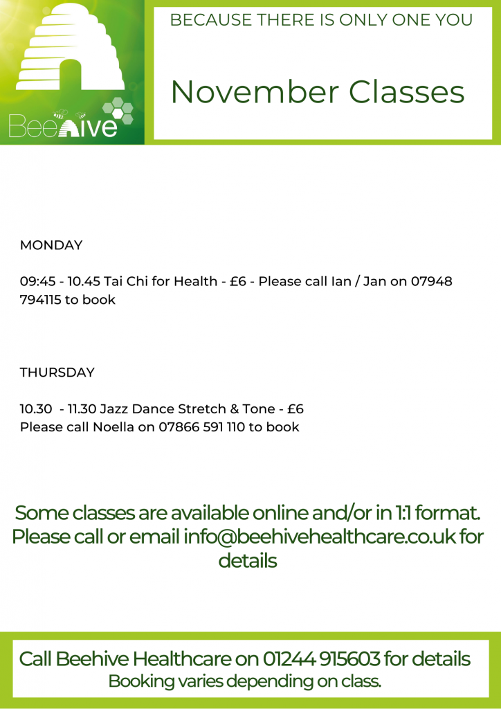 Beehive Healthcare Chester | Health and Wellbeing Centre | Beehive classes November 2020
