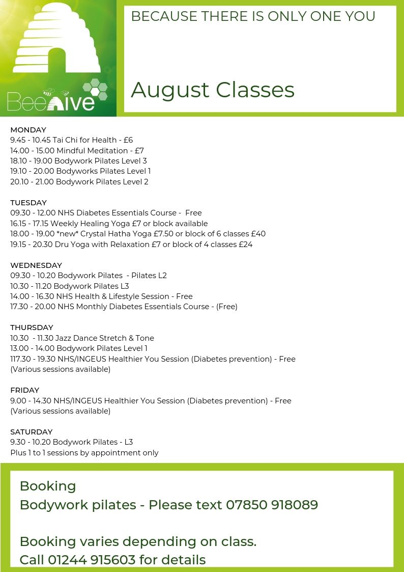 Beehive Healthcare Chester | Health and Wellbeing Centre | Timetable