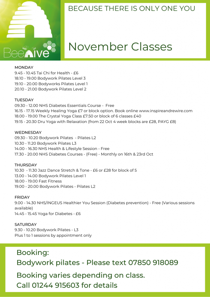 Beehive Healthcare Chester | Health and Wellbeing Centre | November Classes
