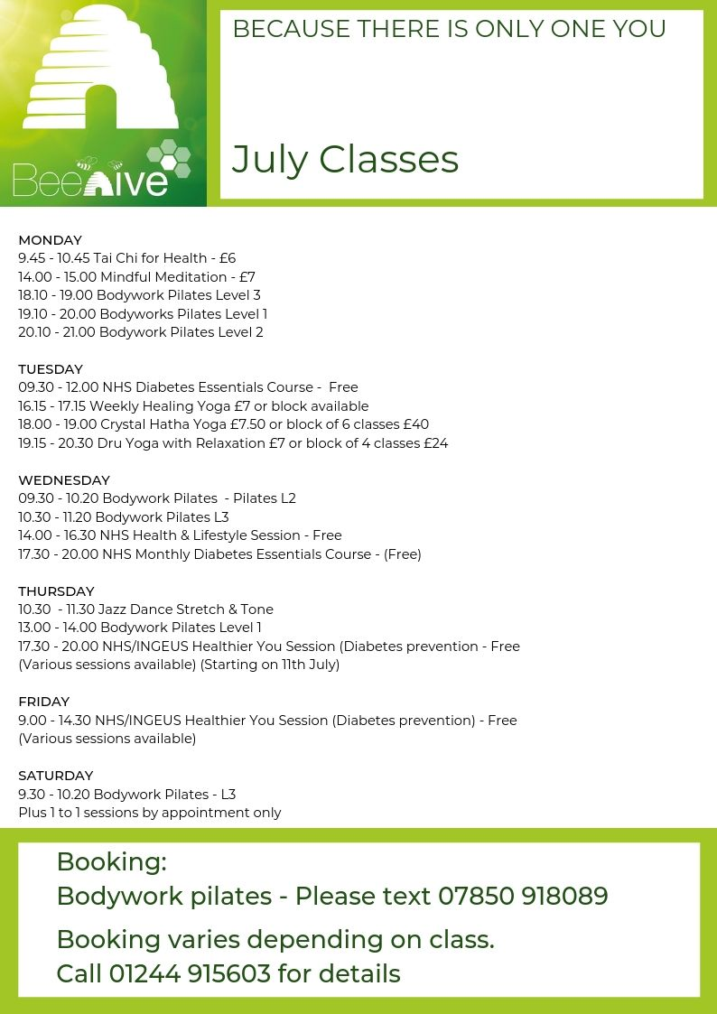 Beehive Healthcare | Hypnotherapy, Reflexology Cheshire | July Timetable