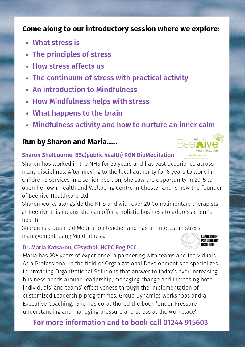 Beehive Health and Wellbeing Centre | Chester | stress mindfulness